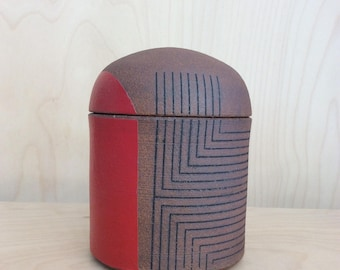 Small Jar with Lines, Roth Ayers Design, Stoneware, red, handmade, mid century modern, mid mod, wheel thrown pottery, geometric design
