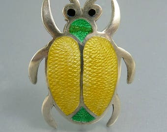 Jeronimo Fuentes Mexico Insect Beetle Brooch Sterling 925 Basse-Taille Enamel