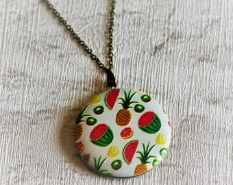 Pineapples Locket Necklace, Fruit Necklace, Food Jewelry, Watermelon, Kiwi