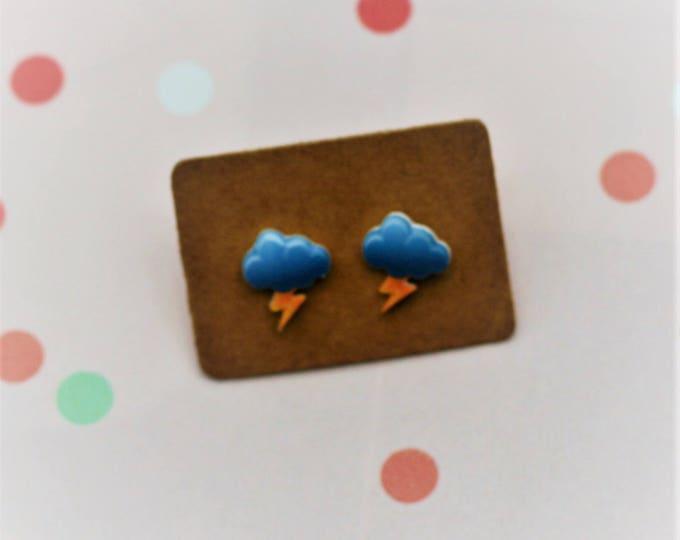 Lightning Cloud Earrings, Teeny Tiny Earrings, Cloud Jewelry, Cute Earrings