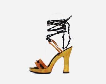 1970s Boho Ankle Tie Wooden Heels Platforms