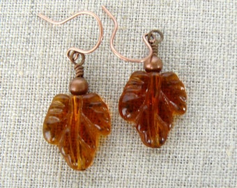 Autumn Leaf Earrings, Amber Glass Leaves, Fall Jewelry, Leaf Dangles, Fall Colors, Autumn Leaves Jewelry, Woodland Collection