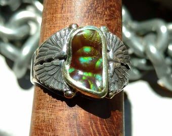 FIRE AGATE RING, Sterling Silver, 18k Gold, Sz 8.75 Handmade, ooak