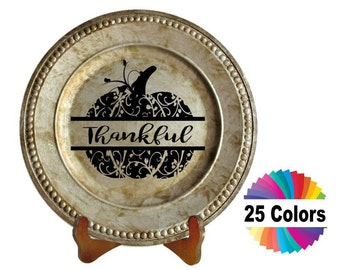 Charger Plate Decal Home Decor Thanksgiving Thankful Pumpkin DIY Gift Choose From 25 Colors
