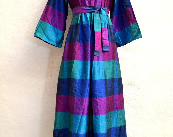 Full Length Maxi Thai SILK DRESS with Matching Belt with Bell Sleeves and Pockets