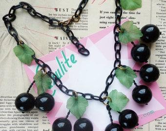 Oversize black cherry 1950s vintage style bakelite-inspired handmade necklace by Luxulite
