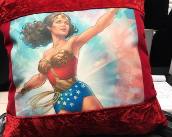 Handmade Wonder Woman throw pillow