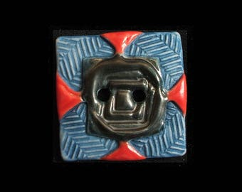 Handmade Square Ceramic Button: Nautical Red and Blue on Translucent White Porcelain