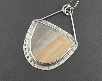 Royal Savannah Jasper Necklace, gray brown silver, boho, bohemian, sterling silver, michele grady, michele grady jewelry, pendant necklace