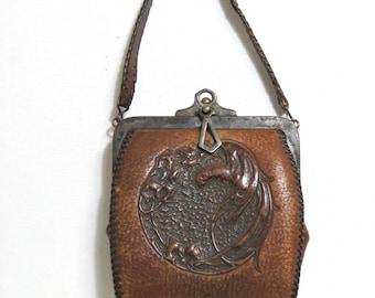 Antique Art Nouveau Leather Handbag/ Tooled Leather Arts and Crafts Parrot Bird/ Purse