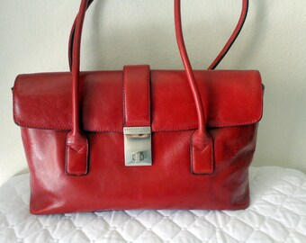 Kenneth Cole  New York Boston bag, satchel , genuine Italian leather deep wine red pristine condition vintage