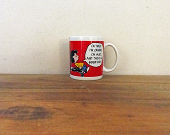 vintage 1980s Lucy Peanuts I'm Tired Crabby & Mad Coffee Mug