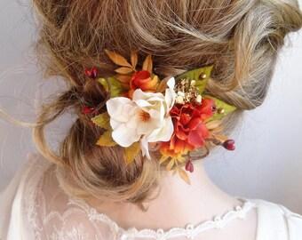 fall hair accessories, fall hair clips, orange flower, fall wedding hair piece, autumn hair clip, autumn wedding, leaves hair accessory