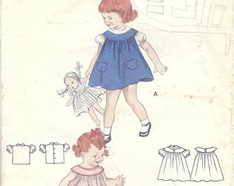 1950s Butterick 7295 Vintage Sewing Pattern Infant and Toddler Dress, Bishop Dress, Sundress, Jumper, Blouse Size 1