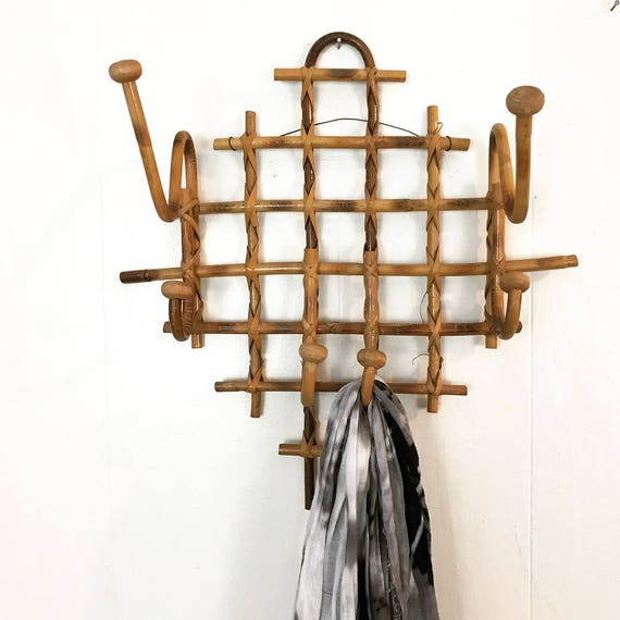 vintage bamboo wall rack - hat scarf apron leash holder - hallway entryway - Thonet style - boho rattan home storage