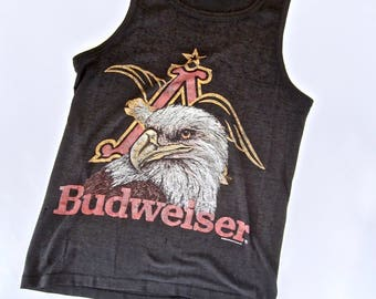 vintage 1980s black BUDWEISER tank t shirt soft super paper thin S M king of BEERS U S A eagle anheuser BUSCH bud st louis perfectly worn