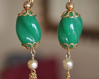 Pearl and Green Glass Dangle Earrings w/ Tassel