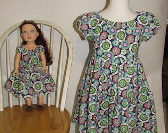"Girl and 18"" Doll Matching Dress Set Size 6"