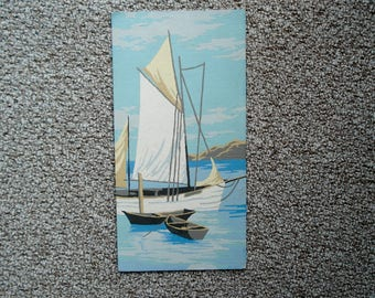 Vintage paint-by-number picture - Sailboat