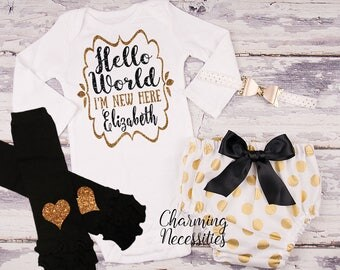 Hello World I'm New Here, Newborn Personalized , Baby Girl Coming Home Outfit, Baby Shower Gift, Top Diaper Cover Bow set black gold