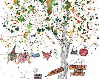 "Masquerade Tree, 5 x 7"" Print of watercolor"