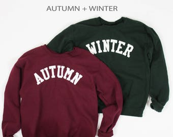 Seasons Crewneck Combo / Autumn Fall Winter Lettering Crewneck Sweatshirt,  / Autumn and Winter