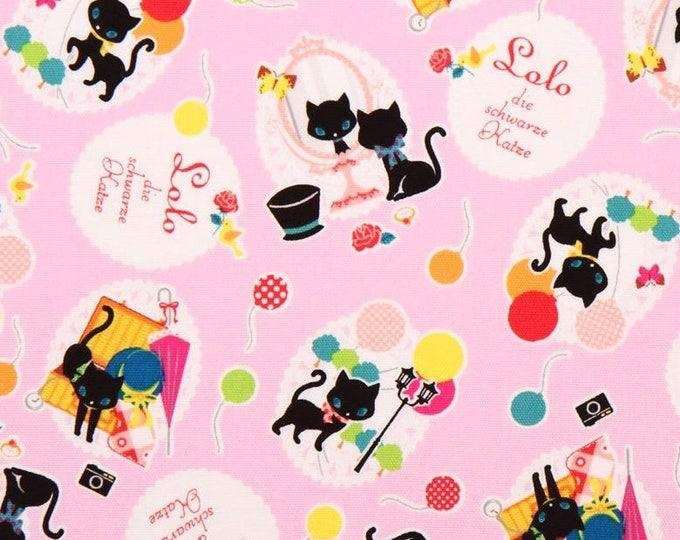 Lolo the Black Cat by Kokka Japan - Japanese oxford cotton fabric K2303-001 Blue, select a length