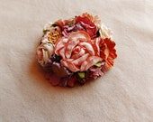 Apricot blush mauve cream yellow daisy mix vintage style hand crafted millinery floral corsage hair accessory supply