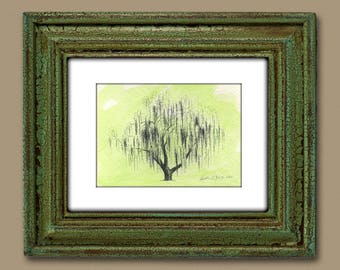 Tree Art Weeping Willow Aurora No. 2 Fine Art Print with Green Watercolor Wash