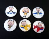 "6 Flying Pig  Buttons.  Airplane Novelty Sewing Buttons.  3/4""or 20 mm Round."