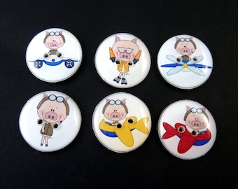 """6 Flying Pig  Buttons.  Airplane Novelty Sewing Buttons.  3/4""""or 20 mm Round."""