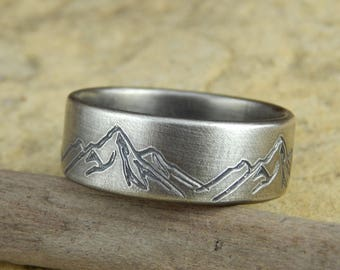Mountain ring wedding band  * 8 mm wide * engraved sterling silver, simple wedding band, 1.5 mm thick.