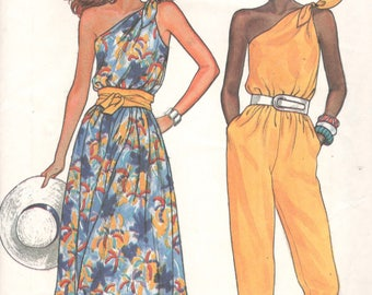 Butterick 3279 1980s Misses One Shoulder Jumpsuit and Dress Pattern Easy Womens Vintage Sewing Pattern Size 6 8 10 OR 12 14 16 UNCUT