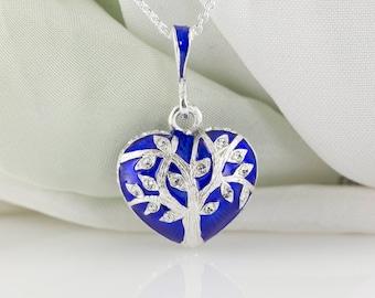 Tree of Life and Hamsa Judaica Jewelry Necklace, Large Heart Pendant w Tree of Life and  Hamsa Jewish Gift, Jewish Jewelry Necklace