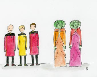 Welcoming the Selay delegation aboard the Enterprise D - illustration inspired by Star Trek TNG