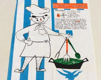 Vintage Mid Century Kitchen Wall Hanging Towel Fiambre de Ternera Spanish Recipe Fab Graphics