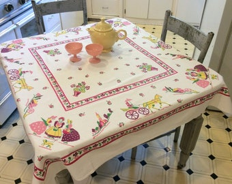 Vintage Startex Tablecloth Pretty Pink Early American Life Gossip Girls in the Corner