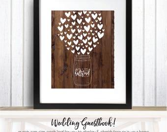 Mason Jar Guestbook, Mason Jar Wedding Decor, Rustic Mason Jar Wedding, Mason Jar Wooden Guestbook, Guestbook Rustic // W-G29-1PS REG1 AA3