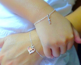 Mother Daughter Bracelets, matching Key to my heart bracelets for mommy & little girl, first day of kindergarten, back to school, twinning