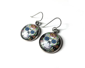 Day of The Dead sugar skull dangle earrings - Hypoallergenic pure titanium, stainless steel and glass jewelry