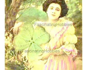 Vintage real photo - WOMAN, LUCKY SHAMROCK, Landscape- 1906 Vintage French Art Nouveau colored Postcard- written with stamp- good Condiion