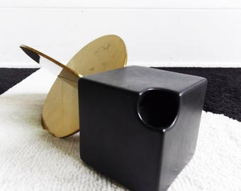 1970s Cor Unum architectural black candle holder - Dutch pottery - ceramic modernist dutch candlestick holder