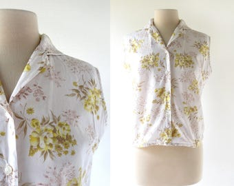 60s Sleeveless Blouse | Sunwashed Blooms | Floral Blouse | M L