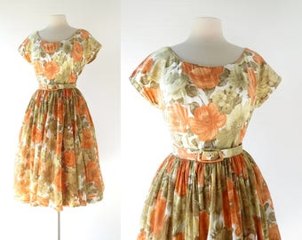 50s Floral Dress | Autumn Poppies Dress | 1950s Dress | Small S