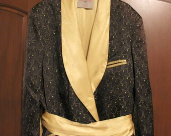 Mens Smoking Robe by State O Maine, Vintage 1960s Atomic Black Gold Star Pattern