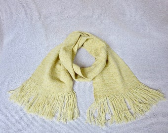 Hand Woven Wool Scarf  - Italian  Wool Yarn - Yellow Mustard Tweed Boucle