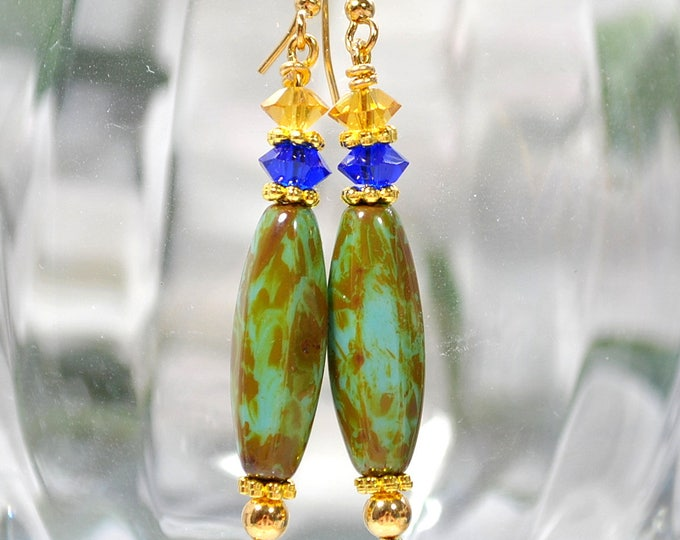 Dangle Earrings Blue Gold Drop Earring Handmade Lever Back Ear Hook or Gold Filled