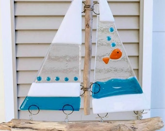 Bubbly Goldfish Fused Glass and Driftwood Sailboat Suncatcher