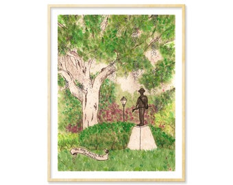 Savannah Prints, Watercolor Art Print, Savannah GA Art Prints, Forsyth Park, Savannah Watercolor, Savannah Souvenir, Oak Trees, Lowcountry
