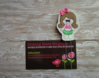 Hula Girl Planner Clips - Shocking Pink Summer Luau Girl With Brown Hair And Green Grass Skirt Paper Clip Or Bookmark - Planner Inspiration